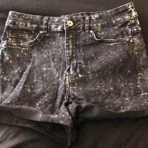 Black & slightly white washed high waisted shorts